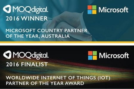 MOQdigital recognised as 2016 Microsoft Country Partner of the Year for Australia and finalist for Microsoft Worldwide Internet of Things Award